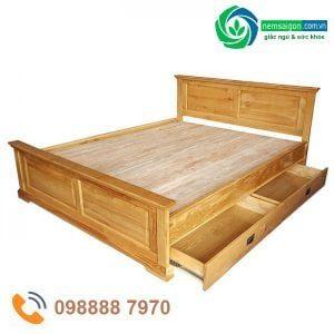 giường ngủ gỗ sồi có hộc kéo