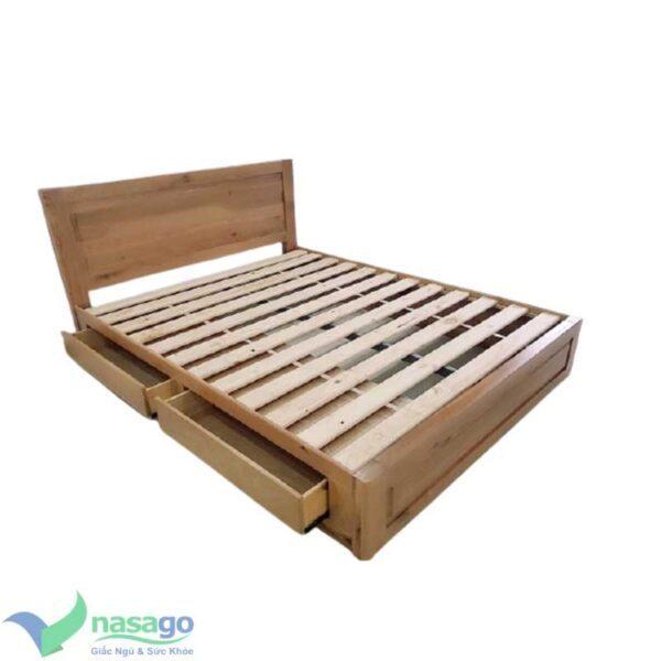Giường ngủ gỗ sồi mỹ có hộc kéo
