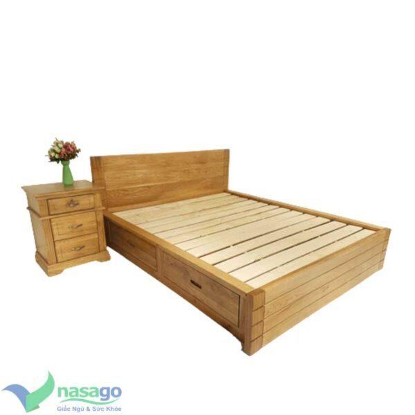 giường ngủ nhật gỗ sồi pano